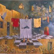La tendedora de ropa - Oleo 80x90 (2008) - Daniel Dankh