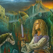 """El Caballero iluminado por su Destino""  (Oleo, 70x60)  - Daniel Dankh - 2015"