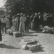 Marché aux cerises dans la cour de l'école d'Escoussans (avec une robe blanche : Juliette Désèmerie)