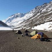 Notre campement tout près de la laguna Gennaio après avoir franchi le Paso del Viento