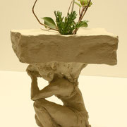 Caryatid, Sculpture in stoneware, Sarah Myers