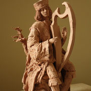 David Plays his Harp, Sculpture in earthenware, Sarah Myers
