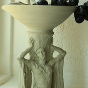 Basin with Figurative Pedestal, Sculpture in stoneware - Basin, Amy Myers, Figure and handle, Sarah Myers