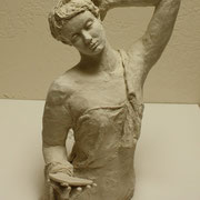 Woman with a Mirror, Sculpture in stoneware, Sarah Myers