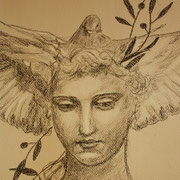 Face of Peace, Drawing in charcoal and conte, Sarah Myers 2014