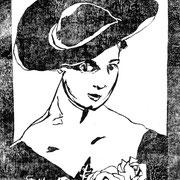 Hat and Roses, Block-print in black ink, Sarah Myers