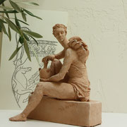 Woman with a Vase, Sculpture in earthenware, Sarah Myers
