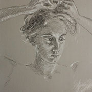 Coiffure, Study in charcoal and conte, Sarah Myers 2014