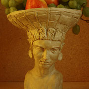 Basket Bearer, Sculpture in stoneware, Sarah Myers 2014