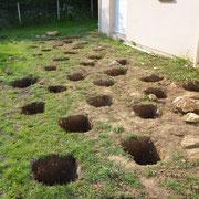 Ouverture des plots de fondation