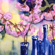 Kirschblüten in Flaschen, 2010, 36 x 48cm, Aquarell