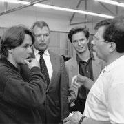 Esa-Pekka Salonen, Dr. Hans Wiedrich, Carl Grouwet, André Richard, Probenanfang Saint-Francois d'Asis, Salzburger Festspiele 1992, Foto Schaffler, Salzburg