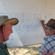 2018 11 11  Geoff Agnew helping (?) Bruce Henshall with his arithmetic.