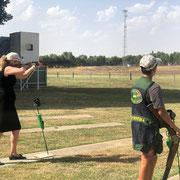 2019 01 25 Senator Bridget McKenzie, Federal Minister for Sport,  shooting some DTL with Matthew Motha.