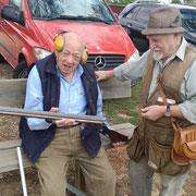 2019 11 10 Ernie Williams admiring Barry Ellis' lovely old 1926 Greener. Damascus steel & hammers; the good old days, indeed.