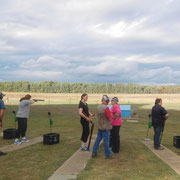 2019 02 12 Sport North East female participation initiative. Participants getting good advice from experienced shooters.