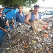 2019 01 26 Working Bee:  Graham Coyle, Bernie Chivers, Brian Reid, Steve Tammie & Bruce Henshall unloading a load of wads. Note that we also picked up lots of general rubbish from the recreation reserve and the roadside.