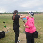 2019 02 12 Females Come & Try Session - Sabrina Hallam getting valuable tips from well known local skeet shooter Alison Harwood.