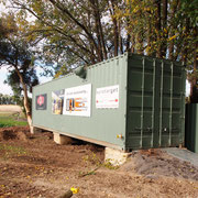 2019 05 29 Shipping container up on concrete blocks out of harm's way. We've got lots of space now to store the sporting clays equipment.