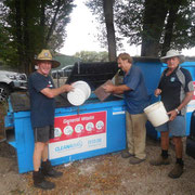 2019 01 26 Working Bee:  Brian Reid, Bernie Chivers & Graham Coyle sprung filling up their buckets from the dumpster.
