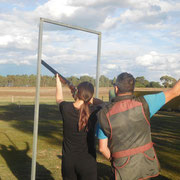 2019 02 12 Females Come & Try Session - Sabrina Hallam has a go at Sporting Clays with Brett Jory supervising.