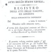"""""""Università di Valle di Maddaloni"""": Registro Nascite dal 1809 al 1812."""