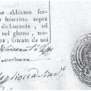 """Registro degli Atti di nascita dal 1836 al 1840. Timbro con la scritta:""""FERDINANDO II RE DEL REGNO DELLE DUE SICILIE. COMUNE DI VALLE."""""""