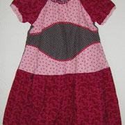 Blusenkleid ROMANTIK, Größe 122/128, Baumwollcord, lange mitwachsend, Bindebänder im Rücken