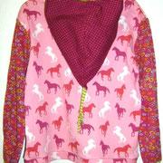 Kapuzenshirt PFERDE, rosa, Größe 128, Baumwolljersey