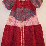 Blusenkleid ROSENMIX, Größe 110/116, Baumwollcord, lange mitwachsend, Bindebänder im Rücken