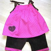 Babykleid/ Tunika AURELIA in Größe 62/68, aus leichter Baumwolle, mit passender Krempelhose aus Baumwollcord, gefüttert mit leichter Baumwolle