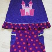 Kleid TRAUMSCHLOSS, Größe 98/104, Baumwollcordstoffe, rückwärtiger Knopfverschluß, lange mitwachsend, Riesenapplikation, passende Hose