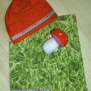 Babyset GLÜCKSPILZ, Hose Größe 62 und passende Zipfelmütze, Baumwollstoffe
