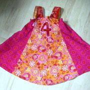 Geburtstagskleid FELIZ, Größe 98/104, Baumwollcord, Bindebänder im Rücken