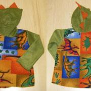 Kapuzenpulli DINOS, Größe 98/104, mit Drachenzackenkapuze, Fleece