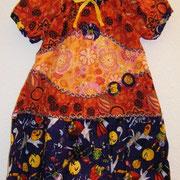 Blusenkleid GEISTER, Größe 110/116, Baumwollcord und Baumwolle, lange mitwachsend, Bindebänder im Rücken
