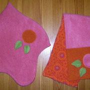 Winterset Zwergenmütze und passender Schal, Baumwollfleece und Jersey