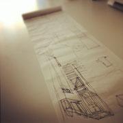 Viele Meter Skizzenrolle fielen dem Entwurf zum Opfer