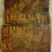 Spurensuche  #03, Asphalt, Acryl, Wachs, Ölkreide, Leinwand, 100 x 80 cm