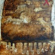 Spurensuche  #01, Asphalt, Acryl, Wachs, Ölkreide, Leinwand, 100 x 80 cm