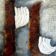 Spurensuche  #04, Asphalt, Acryl, Wachs, Ölkreide, Leinwand, 100 x 120 cm