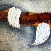 Spurensuche  #06, Asphalt, Acryl, Wachs, Ölkreide, Leinwand, 100 x 120 cm