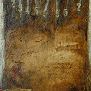 Spurensuche  #02, Asphalt, Acryl, Wachs, Ölkreide, Leinwand, 100 x 80 cm