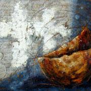 Spurensuche  #05, Asphalt, Acryl, Wachs, Ölkreide, Leinwand, 100 x 120 cm