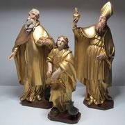 statuettes du maître-autel, bois doré polychrome, 35 cm