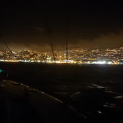Ansteuerung von Funchal am Abend