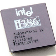 Intel A80386DX-33 IV old logo