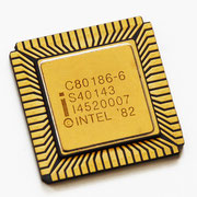 Intel C80186-6 S40143. This CPU actually has a chipped corner. It has been removed for a better exploring experience!