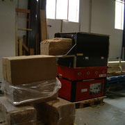 Holzfaser wird in Säcken gepresst angeliefert