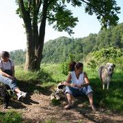 beim Baden an der Sieg bei Hennef mit Anke, Heike, Sue Le und Inkaya